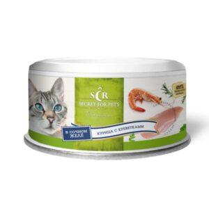 Секрет Премиум консервы для кошек курица с креветками в желе
