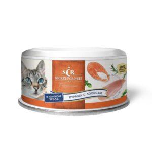 Секрет Премиум консервы для кошек курица с лососем в желе