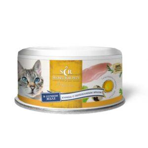 Секрет Премиум консервы для кошек курица с перепелиным яйцом в желе