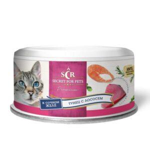 Секрет Премиум консервы для кошек тунец с лососем в желе