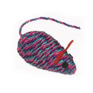 Игрушка YUGI для кошек мышь розовая сизаль