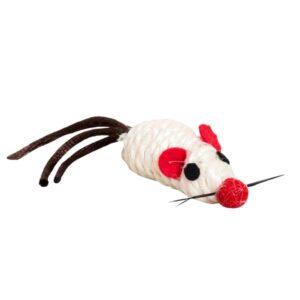 Игрушка YUGI для кошек мышь с перьями серая сизаль