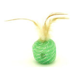 Игрушка YUGI для кошек шарик с перьями зеленый